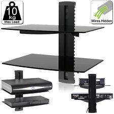 2 Tier Double Floating Shelves Black Glass Sky Box Blu Ray DVD Wall Mount Shelf