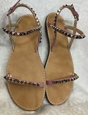 2742396ed Valentino Sandal Pink Rock Stud Ankle Top Strap Silver Studs Size 40 New