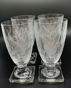 """Antique Etched Crystal Water Goblets, Square Footed, 6-1/4"""""""