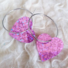 Cute Womens Pink Gilter Plastic Heart Chandlier Silver-Tone Ring Huggie Earrings