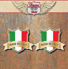 MADE IN ITALY Laminated Stickers x2 50x40mm car motorbike toolbox decals