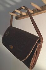 """VINTAGE TOOLED DESIGN HARD LEATHER HAND BAG / PURSE / CLUTCH 8"""" X 5"""" VERY COWBOY"""
