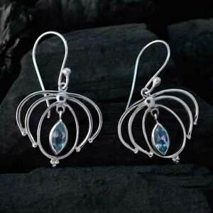 Blue Topaz Bohemia Earring For Girls Silver Jewelry Marquise Shape