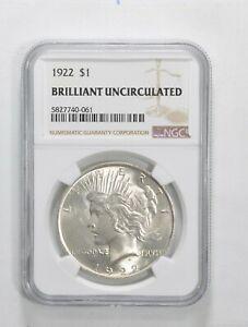 1922 Peace Silver Dollar - Brilliant Uncirculated BU Unc - NGC Graded *