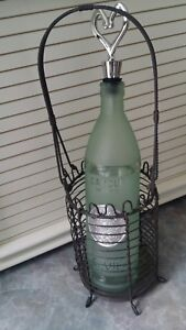 Home Decor Set Bar Wire Basket w/Green Frosted Cancun Mexico Tequila Bottle
