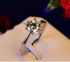 Size 7 Engagement Ring Sapphire Claw White Gold Plated Wedding Women's Gift BC88