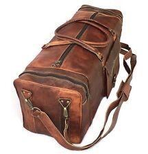 """Sports Gym Bag weekend Real Brown Leather Duffle Bag Travel AirCabin Luggage 30"""""""