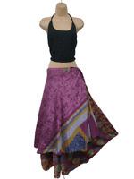 Recycled Silk Skirt Sari Vintage Wrap Reversible Pink Yellow 8 10 12 14 16 18 M