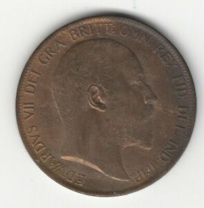 1902 GREAT BRITAIN EDWARD VII HIGH TIDE PENNY ALMOST UNCIRCULATED