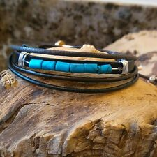 Ladies Girls Friendship  Genuine Leather  multi wrap bracelet Surfer Style.