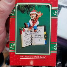 Vintage Enesco Christmas Elf Ornament 1996 An Appointment with Santa New In Box