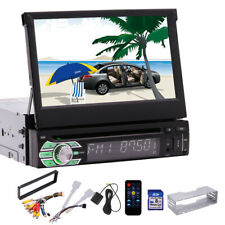 "Single 1 DIN 7"" HD Flip Up GPS Navigation Car Stereo CD DVD MP5 Player Radio BT"