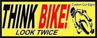 X 2 Think Bike, Car Sticker, Van Sticker - Biker Safety, For Car Windows x 2