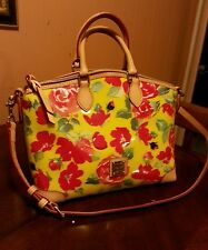 DOONEY & BOURKE Yellow PVC & Leather Trim Multi Floral Satchel Shoulder Bag
