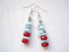 UNUSUAL RED RUBY & BLUE LARIMAR Stack Bead GEMSTONE Drop Earrings Xmas GIFT BAG