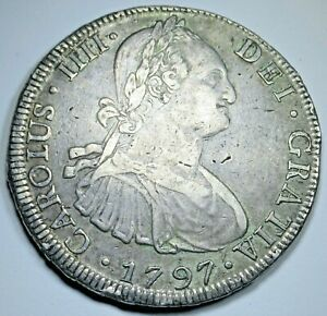 1797 Spanish Bolivia Silver 8 Reales VF-XF Antique 1700's Colonial Dollar Coin