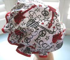 SHOWER CAP HAT AUSTRALIA  HANDMADE, WATERPROOF red and black  guitars on white