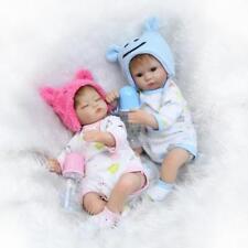 A Pair Reborn Twins Dolls 17inch Soft Silicone Boy Girl Look Real Newborn Babys