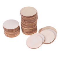 50x DIY Natural Blank Wood Pieces Slice Round Unfinished Crafts Wooden Discs Hs