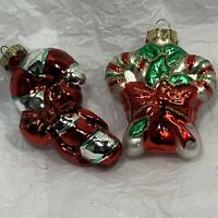 Hand Blown Dirwood Glass Swirl Candy Cane Christmas Ornaments Swizzle Sticks