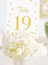 Wedding Table Numbers gold 1-20 Card Confetti Polka Dot Mrs Bride To Be Gatsby