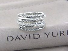 David Yurman Sterling Silver 925 Crossover Wide Cable Pave Diamond Ring Size 7.5