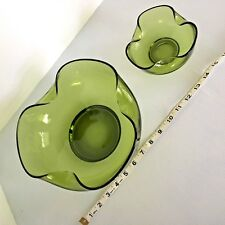 Vintage Anchor Hocking Heavy Green Glass Chip and Dip Bowl Set