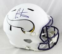 Cris Carter Signed Minn Vikings F/S Flat White Speed Helmet-Beckett Auth *Purple