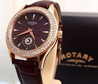 ROTARY Ladies Watch  Brown Leather Strap Rose Gold  RRP£179! Swarovski Boxed VGC