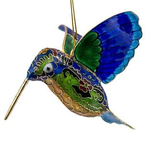 "Cloisonne Enameled Metal Blue Hummingbird Ornament 3.25"" Long New!"