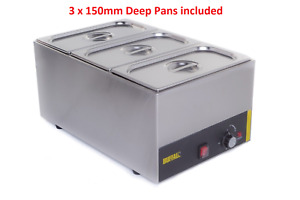 3 PAN POT WET HEAT BAIN MARIE FOOD WARMER HOLDER 3X 1/3 PANS & LIDS INC