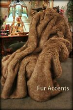 FUR ACCENTS Coyote / Wolf Throw Blanket Light Golden Brown Faux Fur 5' x 6'
