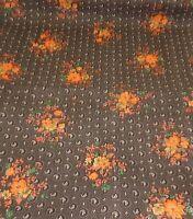 Vintage Peter Pan Fabrics Cotton Brown with Retro Orange Flowers 3 Yards