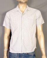vtg 1940s 50s Relaxer Rockabilly Shirt Rayon Atomic Print Loop Collar VLV sz S/M