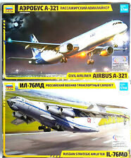 ZVEZDA LOT OF 2 Ultimate Kit Model Airplane IL-76MD + Airbus A-321 Russian Plane