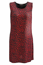 Ladies Plus Size Dress Womens Floral Glitter Print Sleeveless Nouvelle Red 20-22