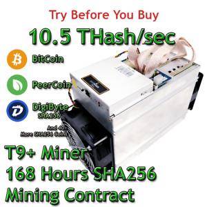 Bitmain Antminer T9+ 10.5 THash/sec Guaranteed One Week Mining Contract SHA256