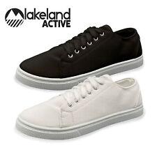 Lakeland Active Men's Ambleside Classic Cotton Canvas Trainers White Black Pumps