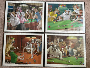 Dogs playing pool (4 Print Pictures) by Arthur Sarnoff. Great College Life