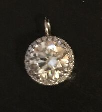 1.20CT  Moissanite halo Pendant With Diamonds 10K White Gold