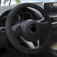 15''/38cm Black Car Steering Wheel Cover Microfiber Leather Breathable Anti-slip