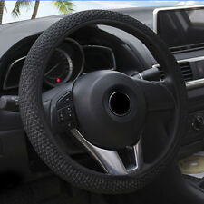 Black Car Steering Wheel Cover Microfiber Leather Breathable Anti-slip 15''/38cm