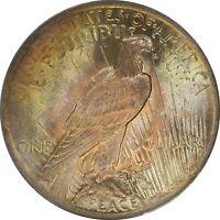 1923, $1, Silver Peace Dollar - Iridescent Toned - ANACS MS63