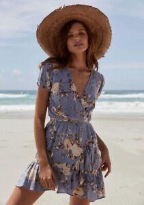 Auguste The Label Vintage Bloom Blue Floral Wrap Dress Size 12