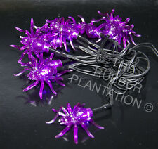 10 Purple Spider Battery Operated Halloween Spooky Decoration Fairy  Lights