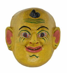 Petit Masque jaune népalais rituel tantrique cérémoniel Chamanique Tibet 26126