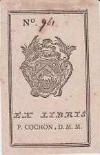 Ex-libris Pierre COCHON-DUVIVIER (1731-1813) chirurgien - Fressines - Rochefort.