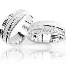 2 Weißgold 585 Partnerringe Eheringe Verlobungsringe Trauringe mit 16 DIAMANTEN