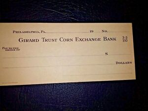 USA, Girard Trust Corn Exchange Bank, obsolete blank check, UNC