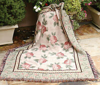 """THROWS - COTTAGE ROSE TAPESTRY THROW BLANKET - 50"""" X 60"""" - FLORAL DECOR"""